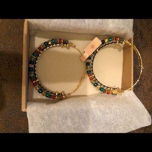 Jewelry - Gas Bijoux gold multicolored beaded hoop earrings.